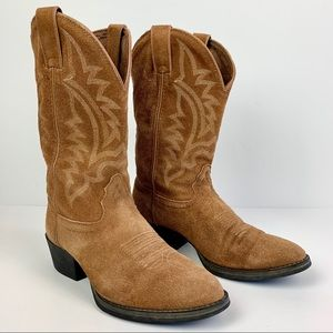 Tony Lama Boots Brown Suede Embroidered Stitched